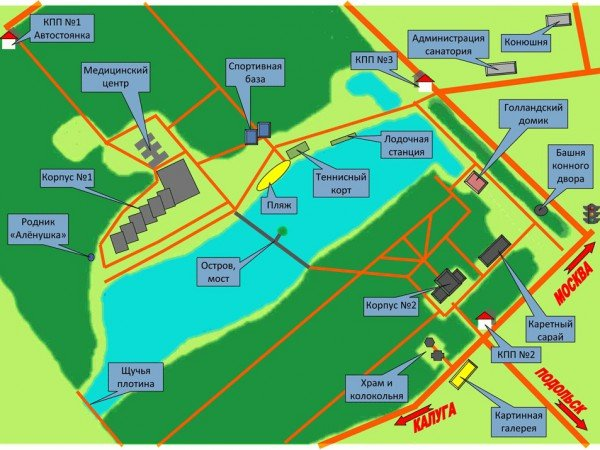 Схема санатория «Вороново»
