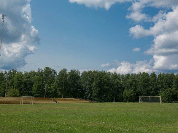 Футбольное поле с трибунами