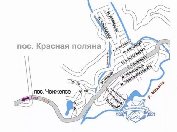 Схема проезда к отелю «Альпийский Двор»