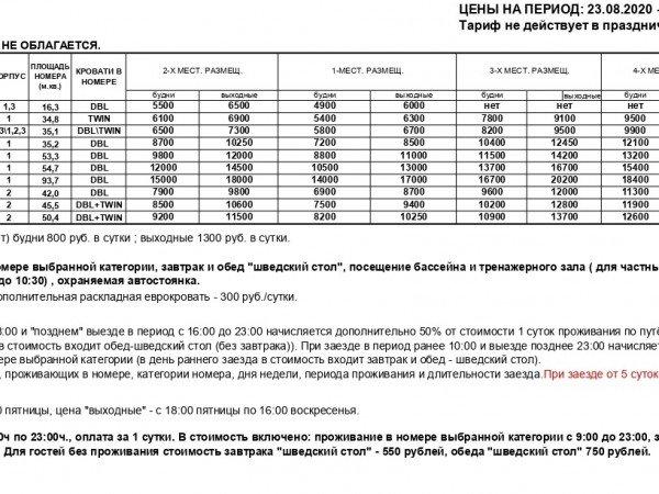 Тариф ПОЛУПАНСИОН 2020 (23.08 - 30.12.2020)