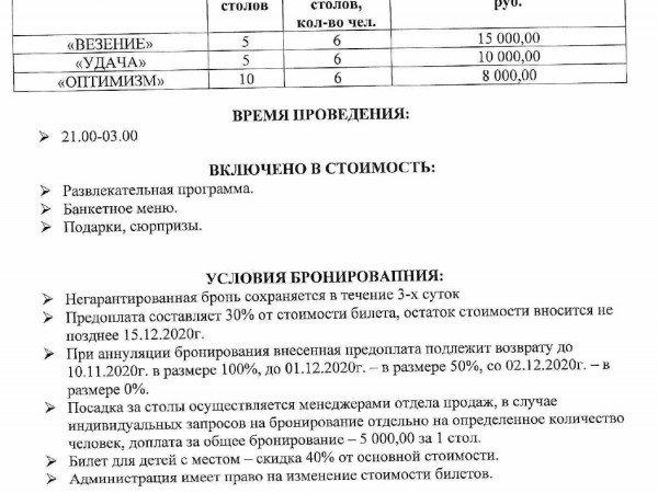 Цены на НОВОГОДНИЙ БАНКЕТ